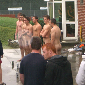 A HOT creamy load of horny 18 year old university lads with their large cocks on full public display